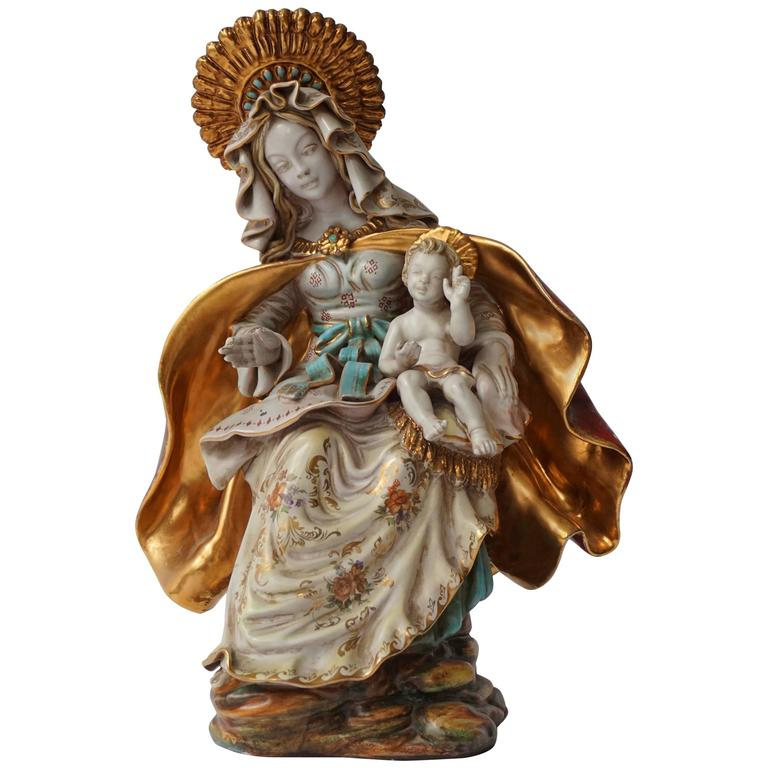 Rare Italian Porcelain Madonna and Child by Paolo Marioni