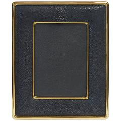 "Black Shagreen Gold-Plated Photo Frame for 5"" x 7"" by Fabio Bergomi"