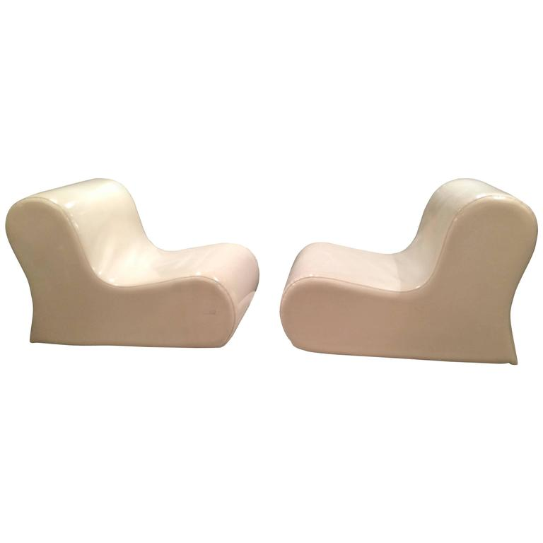 Ueli Berger Pair Of Vinyl Lounge Chairs For Sale
