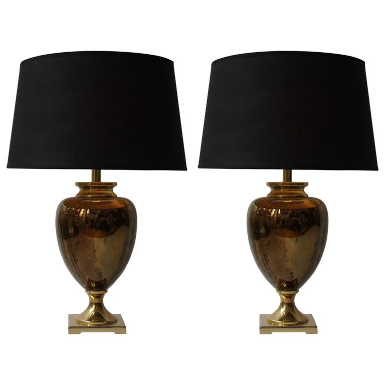 pair of maison le dauphin glass and brass table lamps at 1stdibs. Black Bedroom Furniture Sets. Home Design Ideas