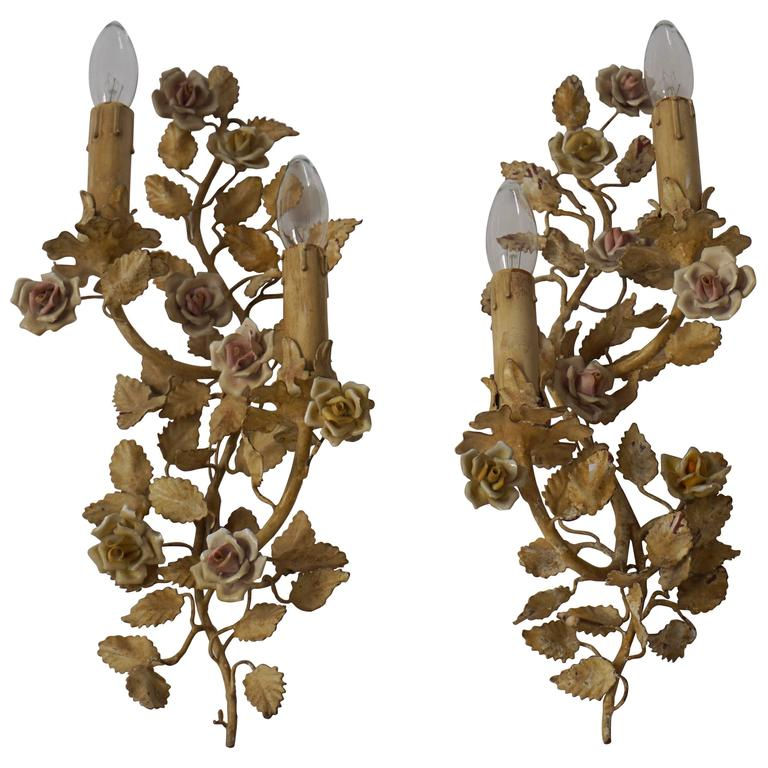 Pair of Metal Leaf and Flower Wall Sconce For Sale at 1stdibs