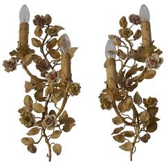 Pair of Metal Leaf and Flower Wall Sconce