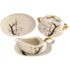 "Mid-Century Japanese Porcelain Serving Piece ""White Plum"" S/5"