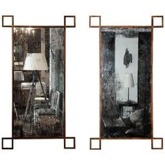 Pair of 'Rouille' French Industrial Mirrors by Design Frères