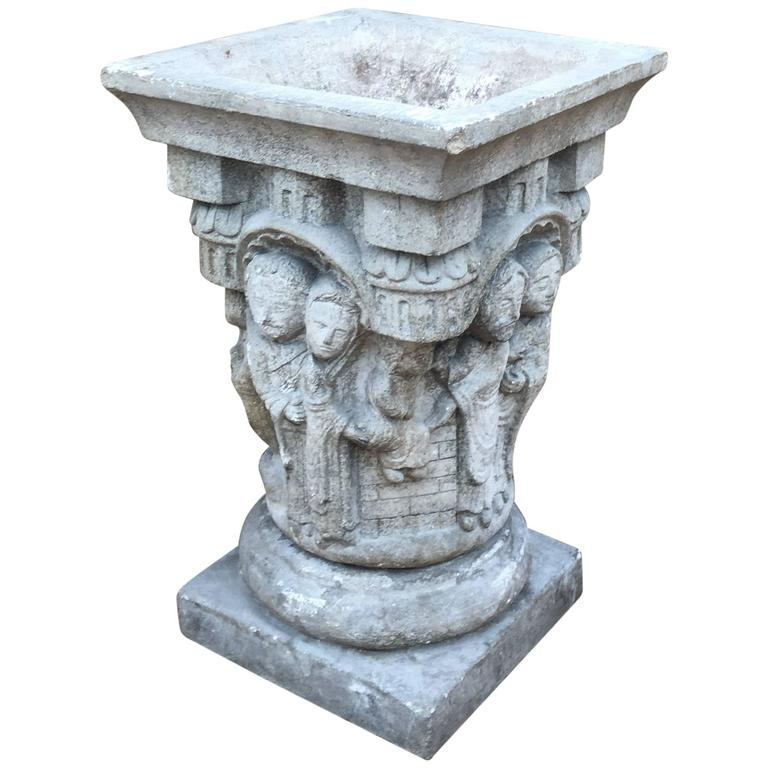 Classical Roman Style Terracotta Urn Depicting a Lovers
