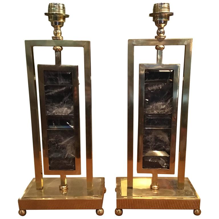 Pair of Rock Crystal and Brass Table Lamps