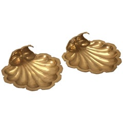 Solid Brass Footed Decorative Clamshell Dishes