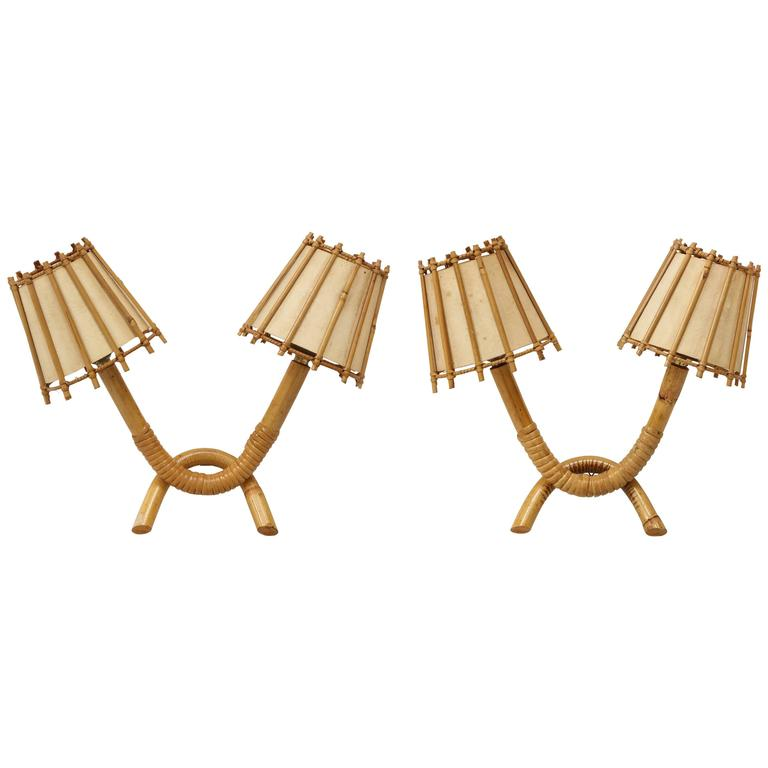 Louis Sognot Attributed Rattan Bamboo Pair of Sconces, 1950s, France