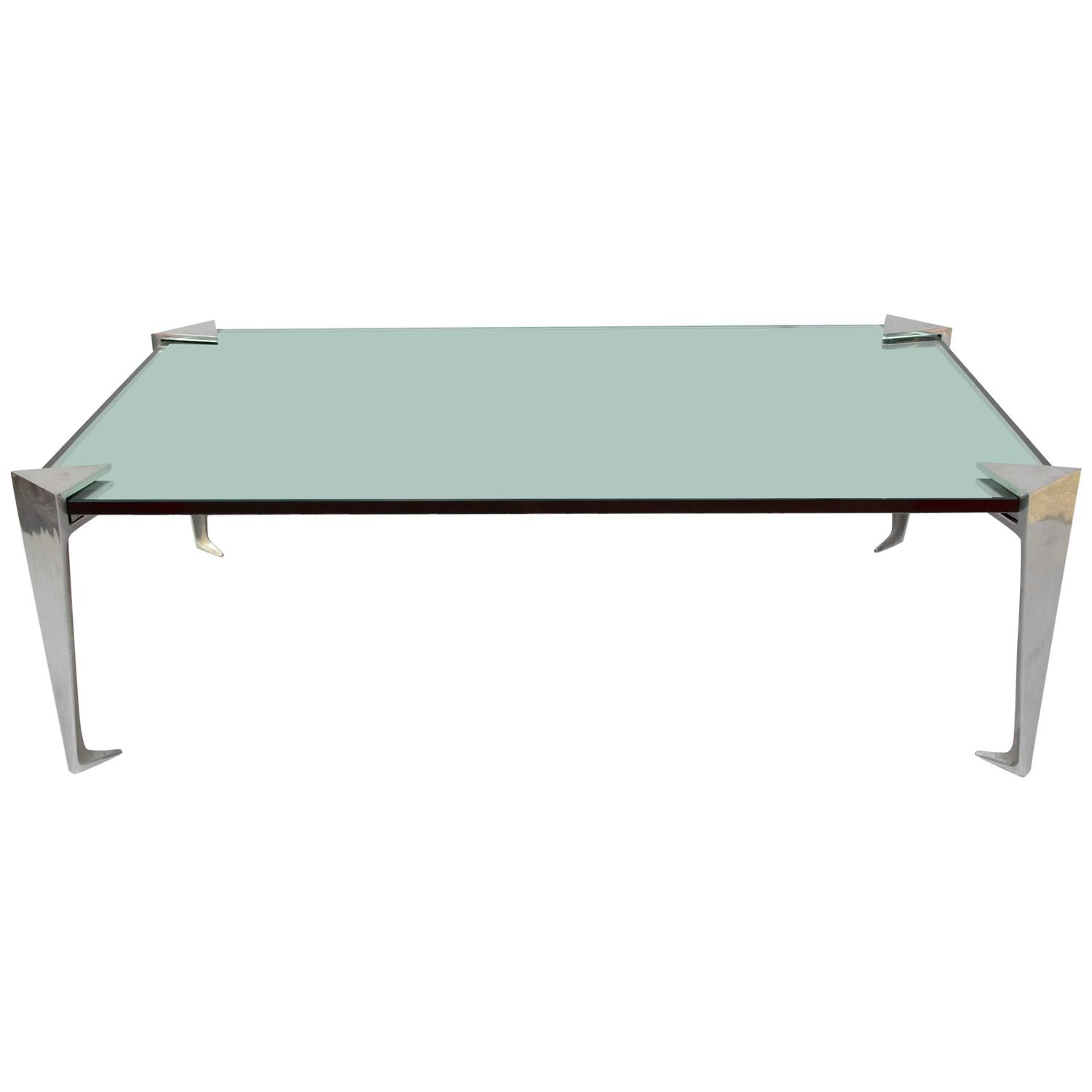 Aluminium And Mirror Top Coffee Table From 1980 For Sale At 1stdibs