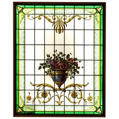 Painted Stained Glass Framed, 1900 Period