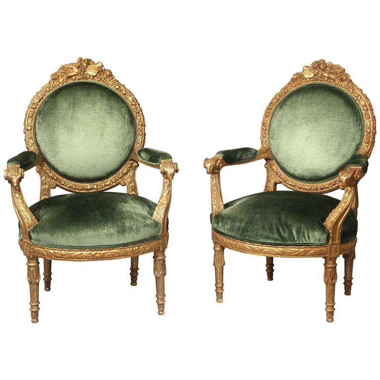 Very Fine Pair of Late 19th Century Giltwood Armchairs