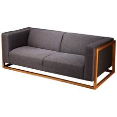 Dark Grey Three-Seater Sofa with Solid Walnut Frame