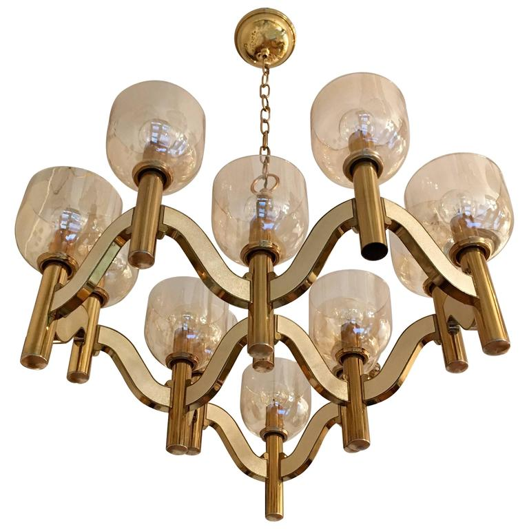 Sciolari High Style 1970s Italian Chandelier For Sale