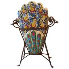 Estate Arts and Crafts Majolica Umbrella Stand on Artistic Wrought Iron Base