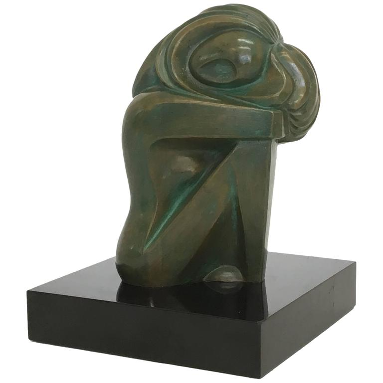 Mid-Century Bronze Nude Sculpture by Jose Ledesma Zavala 1