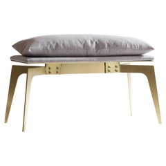 Prong Bench Short with Gray Fabric and Satin Brass, Blackened Steel Base