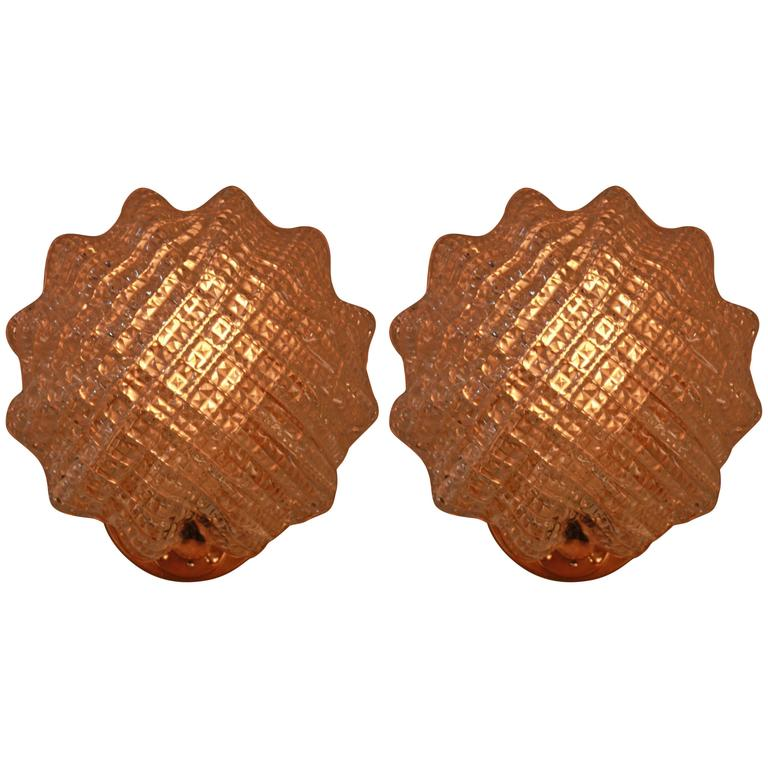 Pair of Texture Glass Wall Sconces by Barovier e Toso, circa 1960s