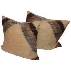 Pair of Early 19th Century Brown and Tan Navajo Weaving Pillows