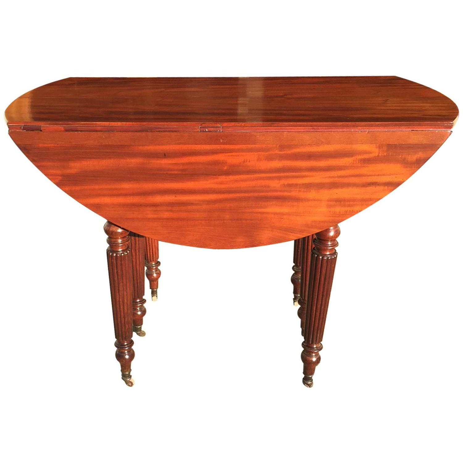 Mid 19th Century French Mahogany Drop Leaf Extending Dining Table