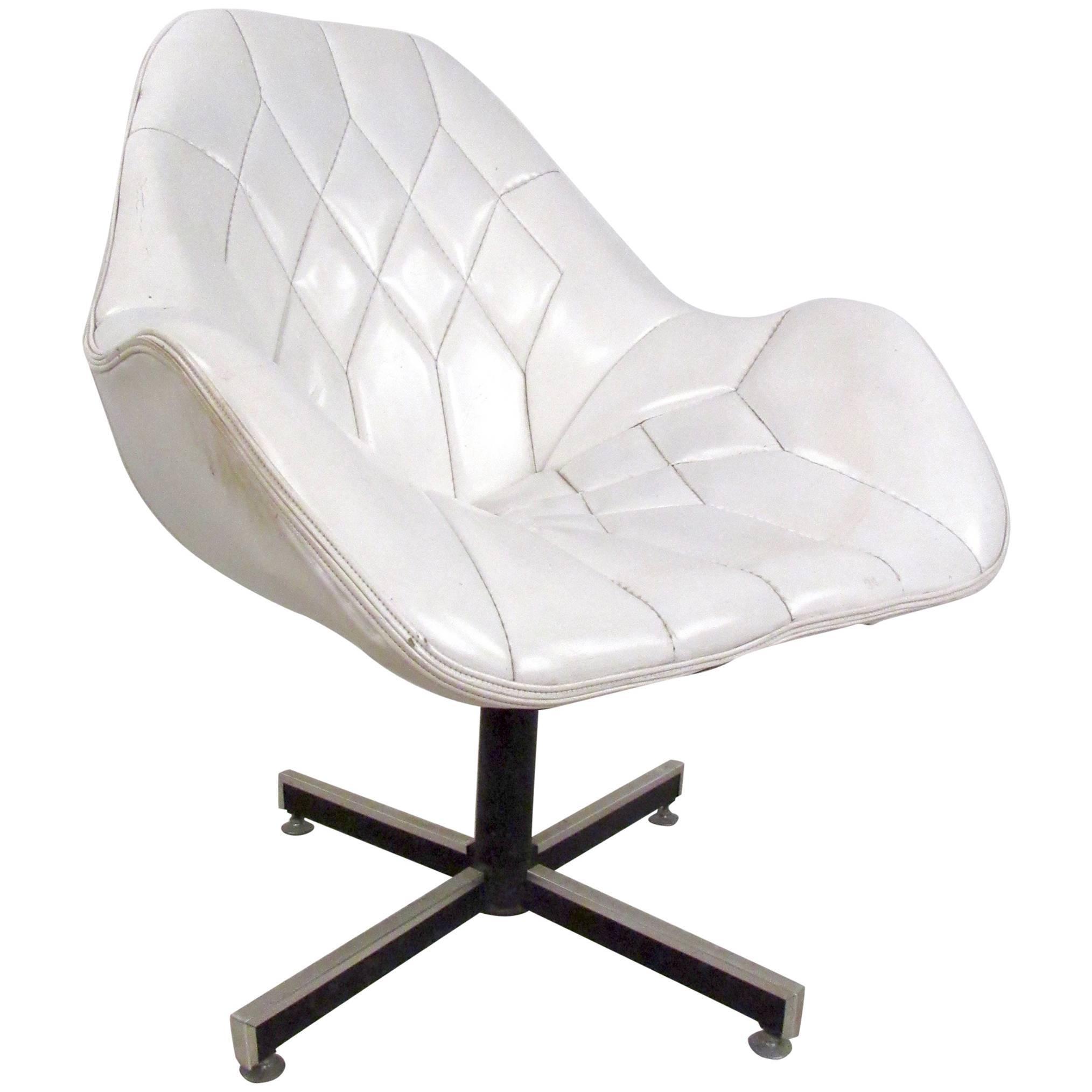 Mid-Century Modern Tufted Swivel Lounge Chair