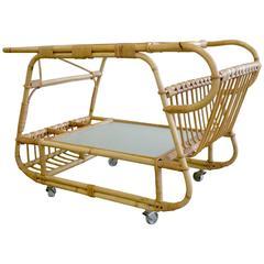 Mid-Century Danish Rattan Bar Cart