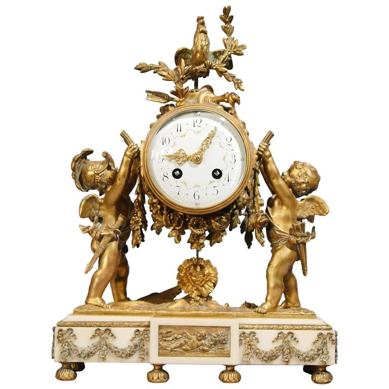 Antique Louis XVI Mantle Clock Ormolu Cherub at 1stdibs