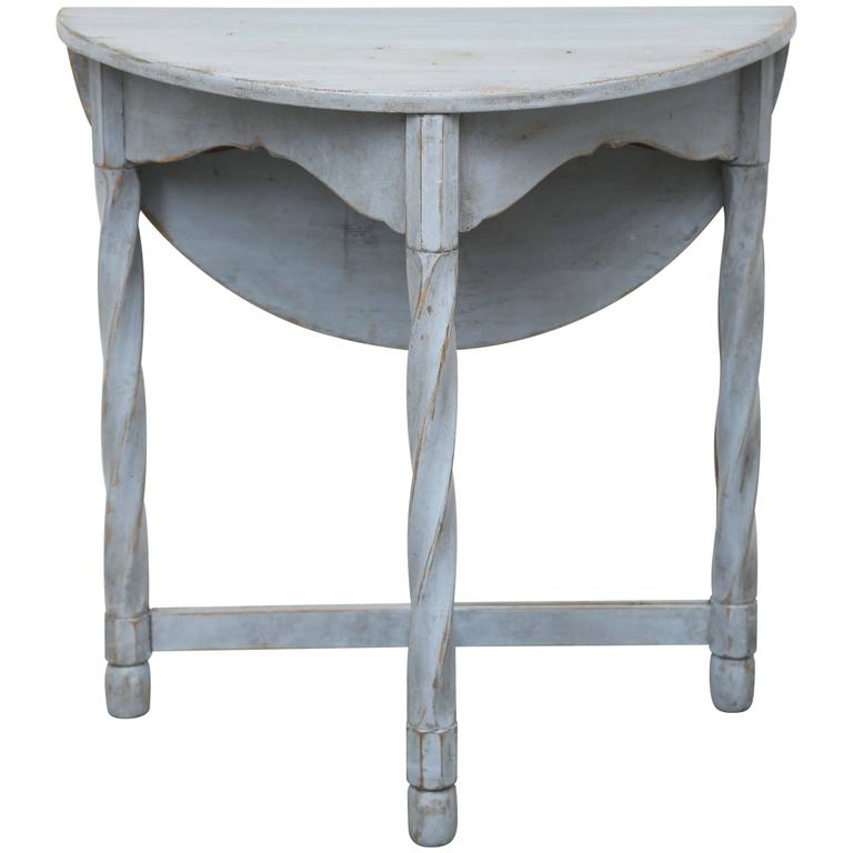 Antique Swedish Painted Small Round Drop Leaf Table, Mid 19th Century 1