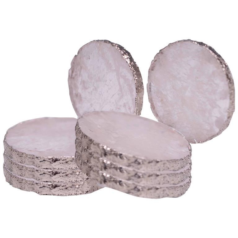 Group of Eight Circular Rock Crystal Coasters