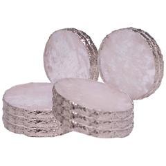 Group of Ten Circular Rock Crystal Coasters