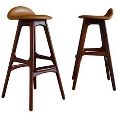 Pair of Rosewood and Leather Barstools by Erik Buch