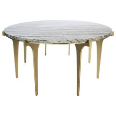 Prong Coffee Table in White, Grey, Black Marble and Satin Brass Legs