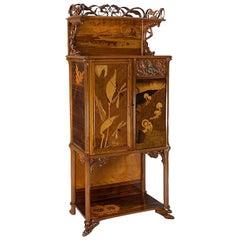 """Émile Gallé """"Grenouilles"""" Fruitwood Cabinet"""