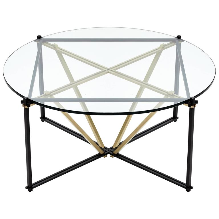 Tensegrity Coffee Table, Black and Satin Brass with Clear Glass