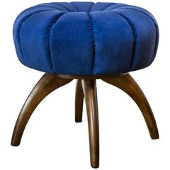 Heywood-Wakefield Bentwood Pouf/Ottoman in Sapphire Blue Velvet
