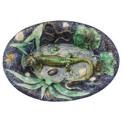 19th Majolica Palissy Lizard Platter School of Paris
