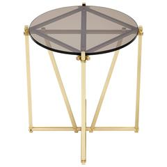 Tensegrity Side Table, Satin Brass with Smoked Glass