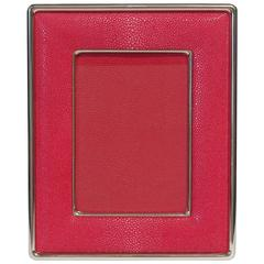 Red Shagreen Nickel-Plated Photo Frame