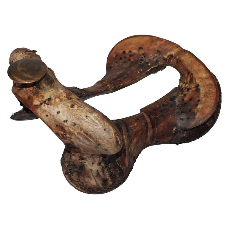 19th Century Leather Covered Wood Saddle Tree Form