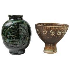 Midcentury Ceramic Vases, Pair