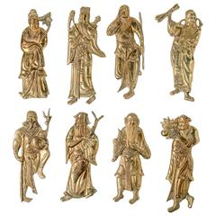 Chinoiserie Brass Figures, Set of Eight 1970s