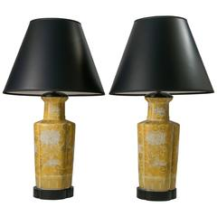 1960s Yellow Chinoiserie Table Lamps, Pair