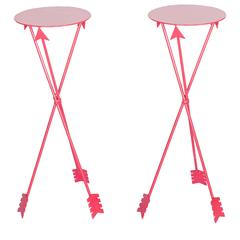 Midcentury Red Metal Arrow Drinks Tables, Pair