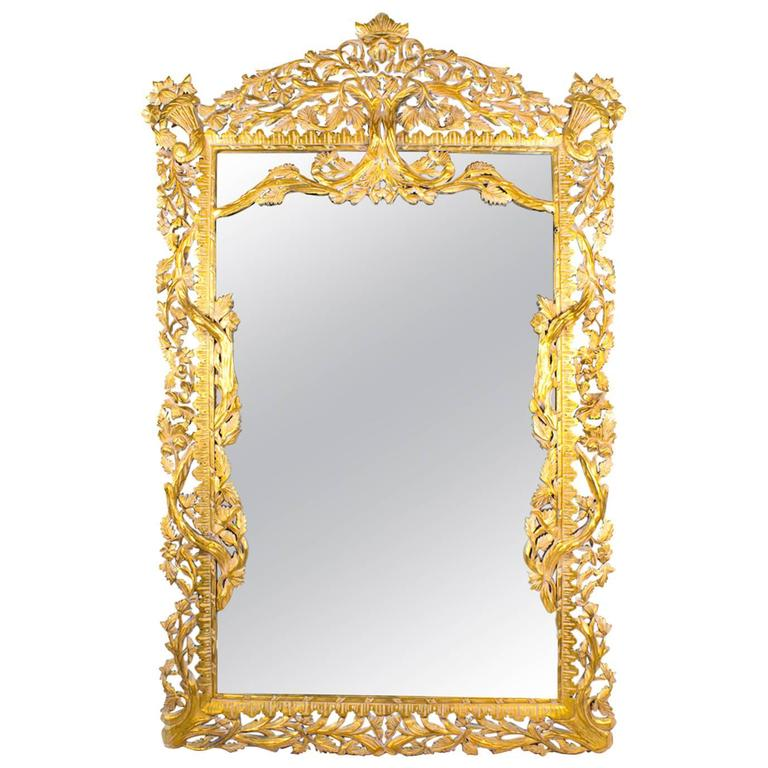 Vintage huge 8ft decorative rectangular giltwood mirror for Big mirrors for sale