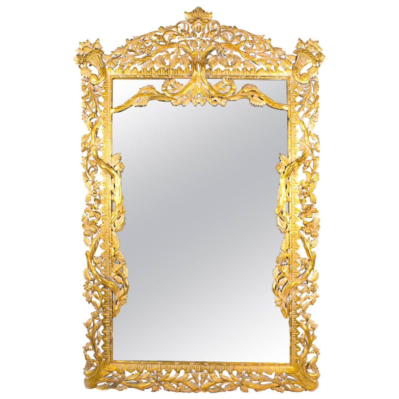 Vintage huge 8ft decorative rectangular giltwood mirror for Fancy mirrors for sale