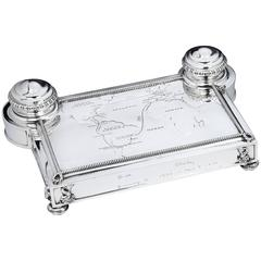 Unique Sterling Silver 'Map of the World' Inkstand, by Cartier, Paris
