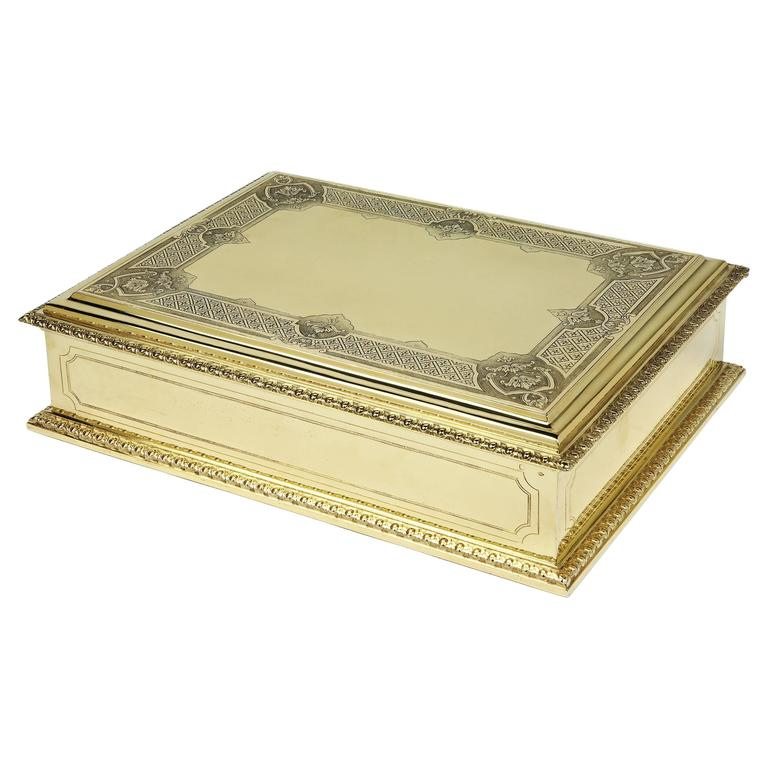 Large Puiforcat Gilded Cigar Box, 1935