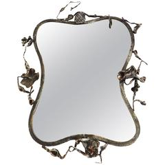 Romantic Sculptural Mirror in Hand-Wrought Iron by Salvino Marsura, 1960, Italy
