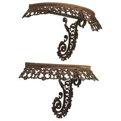Exquisite Pair of Bronze Wall Brackets