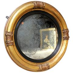 Good Regency Period Giltwood and Gesso Convex Wall Mirror, circa 1825