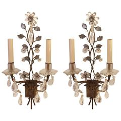 Pair of Gorgeous Maison Bagues Gilt Metal and Rock Crystal Sconces